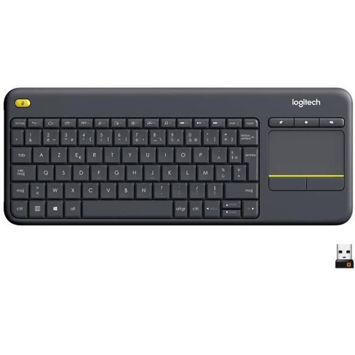 LOGITECH Clavier TV Multimédia K400 Plus - AZERTY - Sans Fil - Pavé Tactile