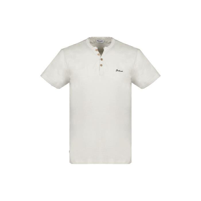 DEELUXE T-shirt à col boutonné KALONI Light Grey Mel