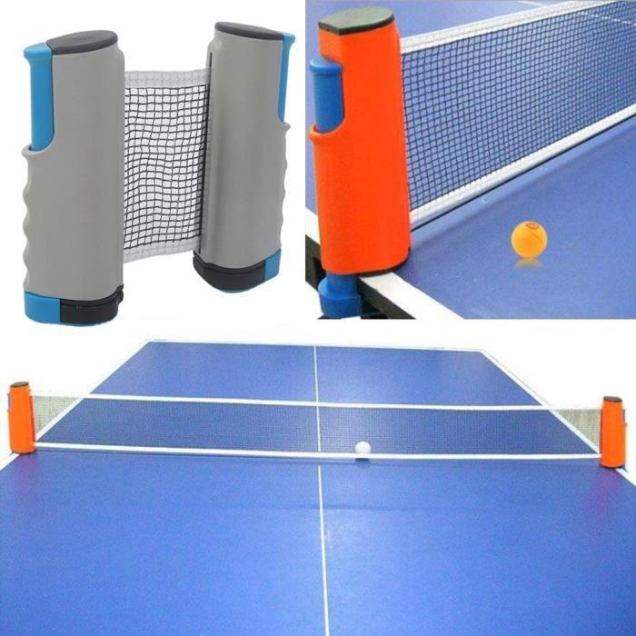 petrichorr Filet de Ping Pong, Filet de Tennis de Table Rétractable pour Intérieur et Extérieur bleu gris