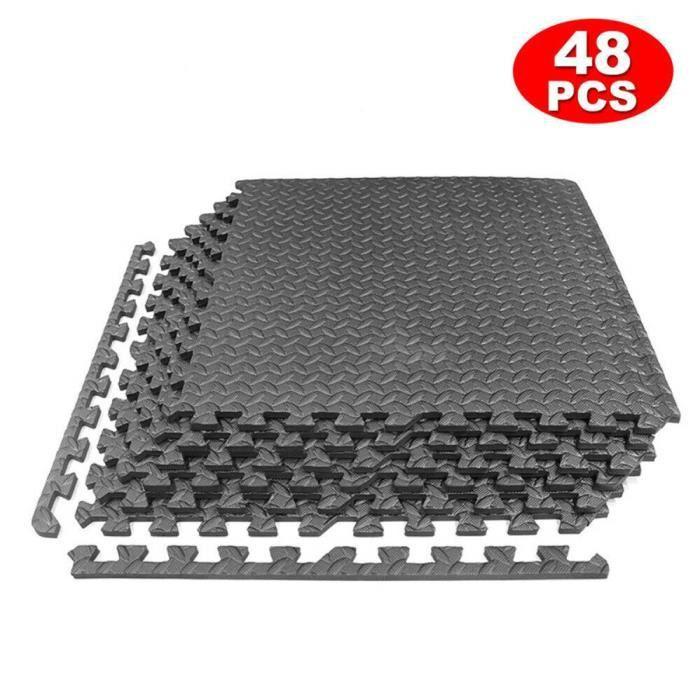 Ensemble de 48 Dalles Tapis de Protection de Sol, Tapis Puzzle Antidérapant Mousse Noir 60 X 60 cm