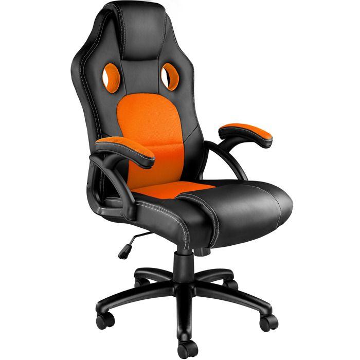 TECTAKE Chaise de Bureau Design Gamer TYSON - Confortable - Hauteur Réglable - Inclinable - Pivotante - Noir Orange