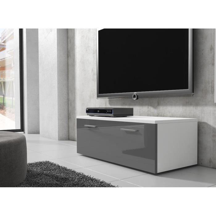 Meuble Tv 100 Cm En Mdf Blanc Mat Et Gris Laque Achat Vente Meuble Tv Meuble Tv 100 Cm En Mdf Bla Cdiscount