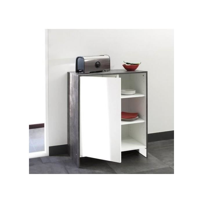 Meuble bas de cuisine 1 porte 3 niches 71 cm beton blanc for Meuble cuisine 15 cm