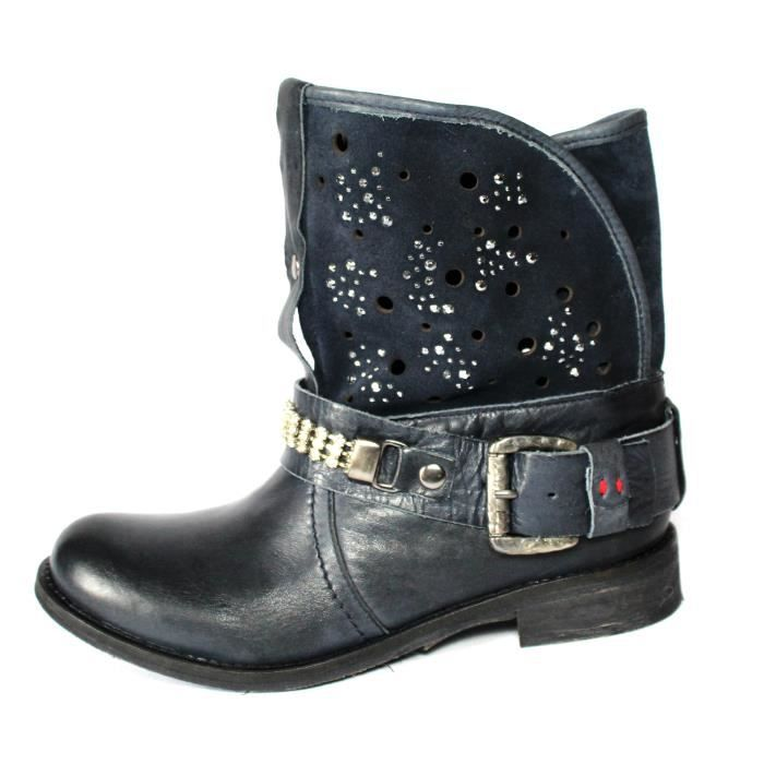 BOTTINES BASSESFEMME CUIR BLEU STRASS T 35 NEUVES
