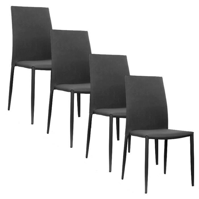 lot de 4 chaises moderne noir en tissu empilable achat vente chaise tissu polyur thane. Black Bedroom Furniture Sets. Home Design Ideas