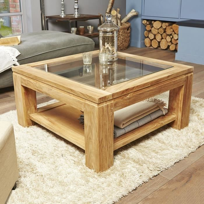 Table basse carr e vitr e en teck brut qualite achat - Table basse vitree ...