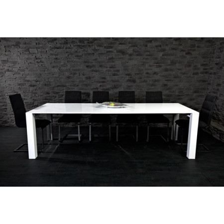 Table manger extensible lilou blanc laqu achat - Table blanc laque rallonge ...