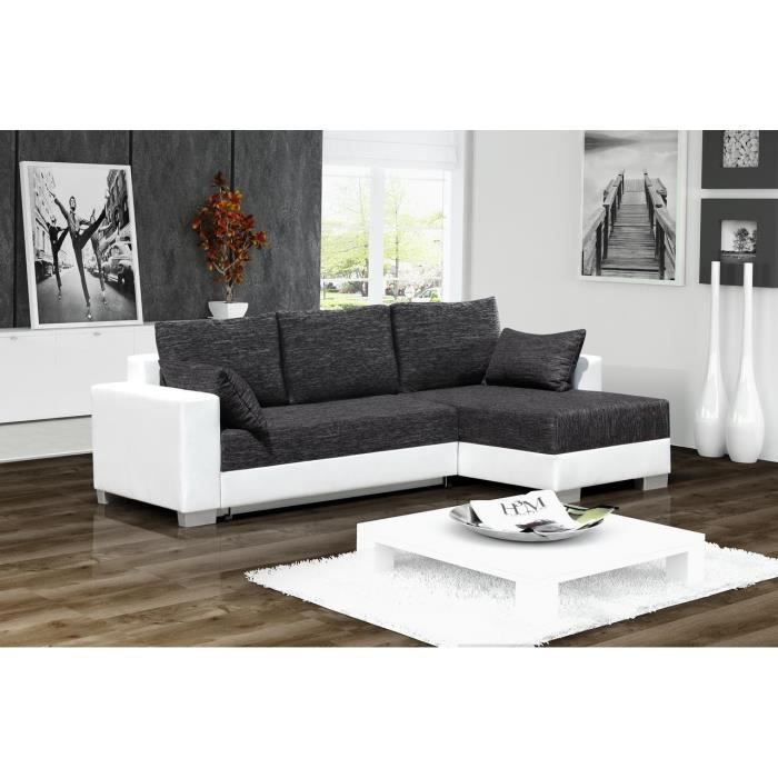 canap d 39 angle convertible 3 places en simili cuir blanc et tissu gris achat vente. Black Bedroom Furniture Sets. Home Design Ideas