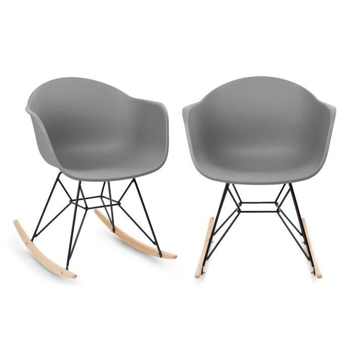 FAUTEUIL JARDIN  Blumfeldt Skandi Lot de 2 chaises de jardin à basc