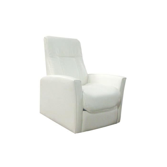 Fauteuil relax pu m canique blanc timeo achat vente fauteuil cdiscount - Fauteuil relax mecanique ...