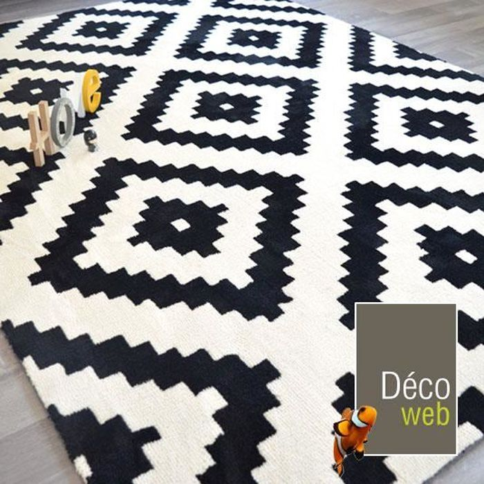 tapis graphique noir et blanc 200 x 290 cm achat vente tapis cdiscount. Black Bedroom Furniture Sets. Home Design Ideas