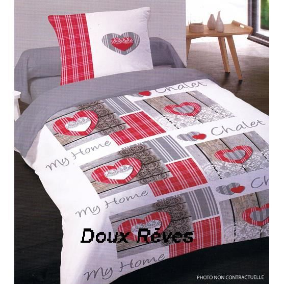 housse de couette 200x200cm chalet rouge 100 coton flanelle avec rabat 2 taies plac es. Black Bedroom Furniture Sets. Home Design Ideas