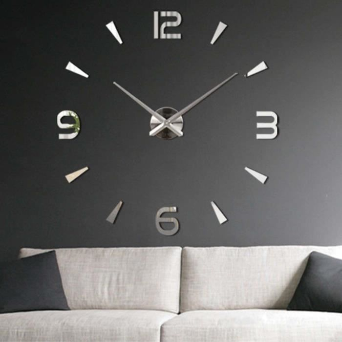 getek 3d grande horloge murale surface miroir d coration. Black Bedroom Furniture Sets. Home Design Ideas