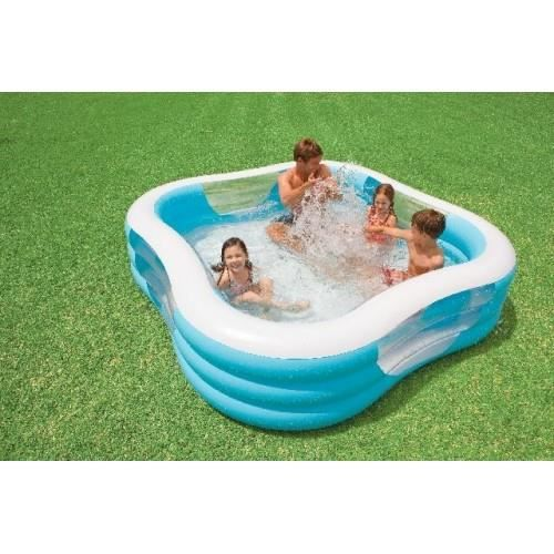 Piscine familale avec hublots intex achat vente for Piscine carree intex
