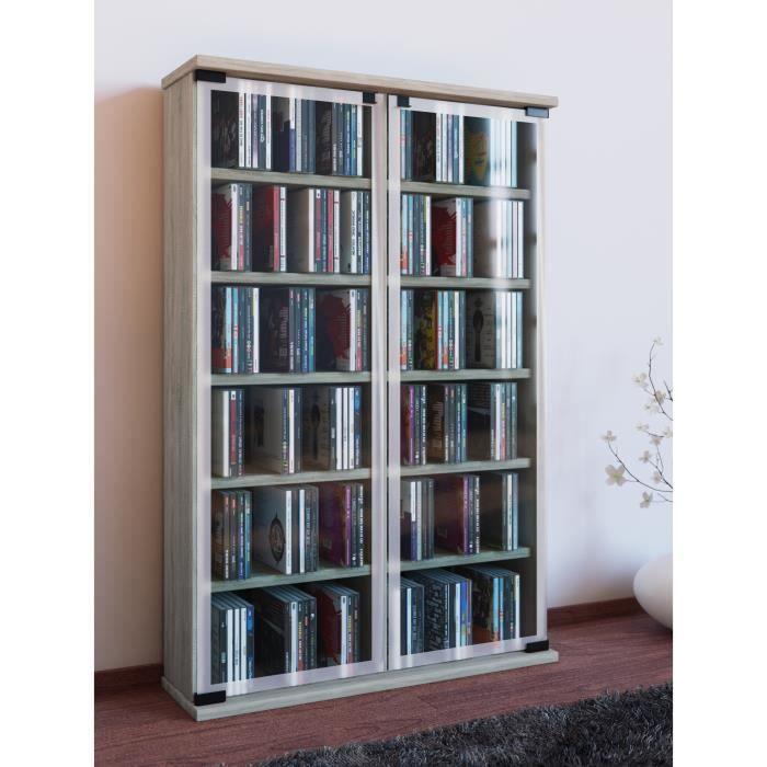 Vcm Meuble Cd Dvd Galerie Pour 300 Cd Chene Sonoma Pour 300 Cd Ou 130 Dvd Ref 30056 Prix Pas Cher Cdiscount