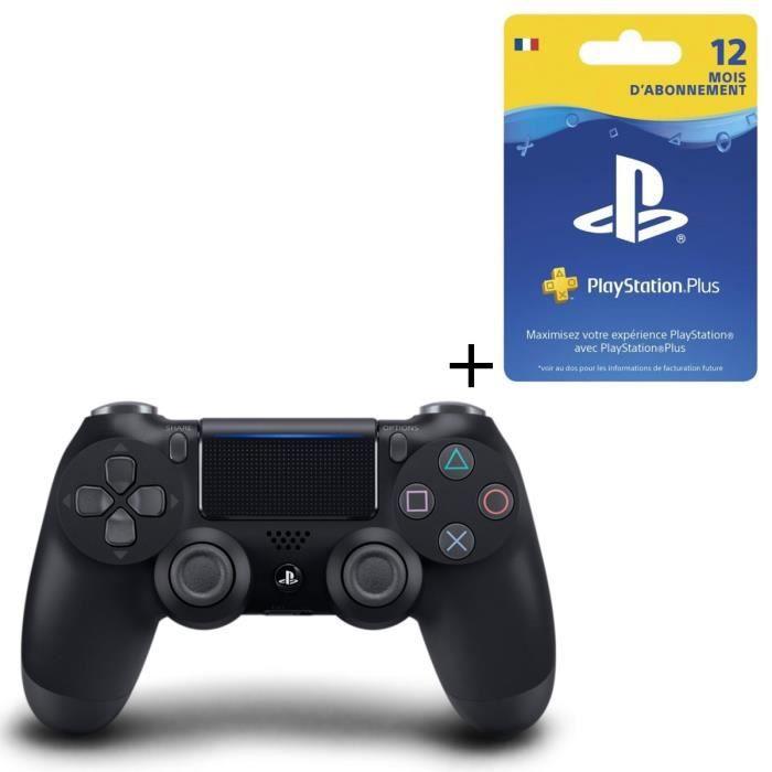 Pack Manette DualShock 4 Noire V2 + Abonnement PlayStation Plus 12 Mois