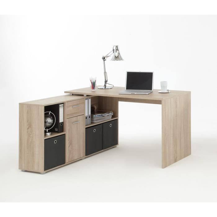 zito bureau angle r versible classique d cor ch ne l 136 cm achat vente bureau zito bureau. Black Bedroom Furniture Sets. Home Design Ideas