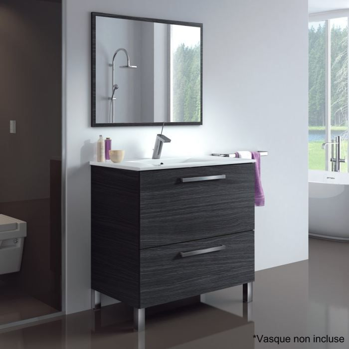 urban meuble sous vasque gris cendr avec miroir achat. Black Bedroom Furniture Sets. Home Design Ideas