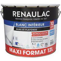 Peinture murale monocouche 12 L MAT blanc extrême - Lessivable - RENAULAC