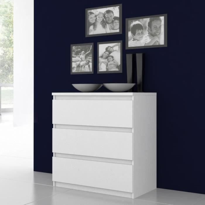 COMMODE DE CHAMBRE NATTI Commode de chambre - style contemporain blan