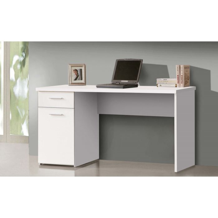 net bureau 140 cm blanc achat vente bureau net bureau 140 cm blanc bois agglom r soldes. Black Bedroom Furniture Sets. Home Design Ideas