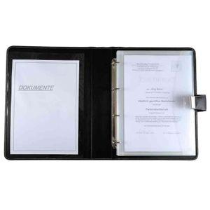 CONFÉRENCIER Porte document format A4 4 anneaux Cuir Nappa noir