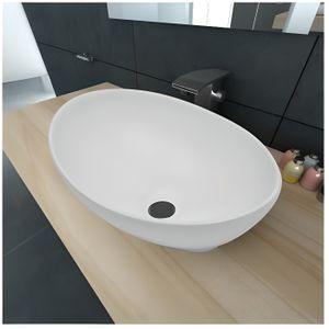 Lavabo AVILA blanc en céramique Vasque à poser ovale moderne haute qualité REA