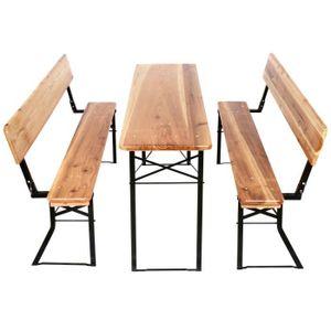 SALON DE JARDIN  Table et Bancs en Bois Large Pliables Lot de 3 piè