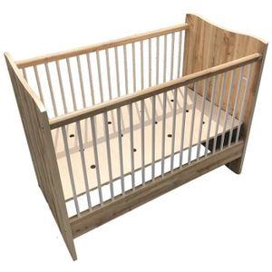 LIT BÉBÉ Lit à barreaux bébé Drak bois avec sommier 120x60