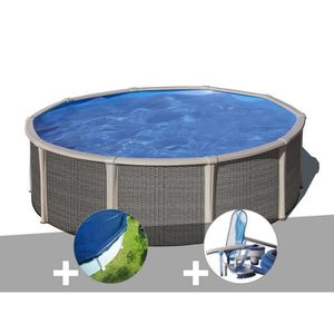 PISCINE Kit piscine acier et résine Gré Fusion ronde 4,80