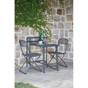 Ensemble table et chaise de jardin Salon de jardin pliable spécial petit espace Anthr