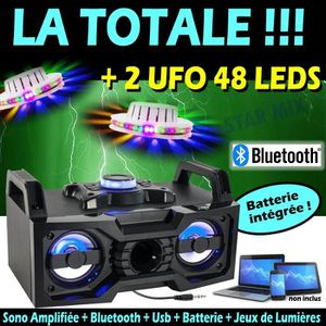 PACK SONO ENCEINTE SONO PORTABLE USB BLUETOOTH BATTERIE + 2