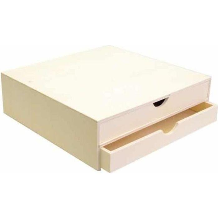 Bloc en bois deux tiroirs 34,5x34x10cm - Artémio Marron