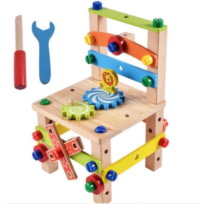 DIY Construction de Chaise en Bois Boîte à Outils Etabli de Bricolage Écrous et Boulons Assemblage Jouet pour Enfants Couleur de Boi