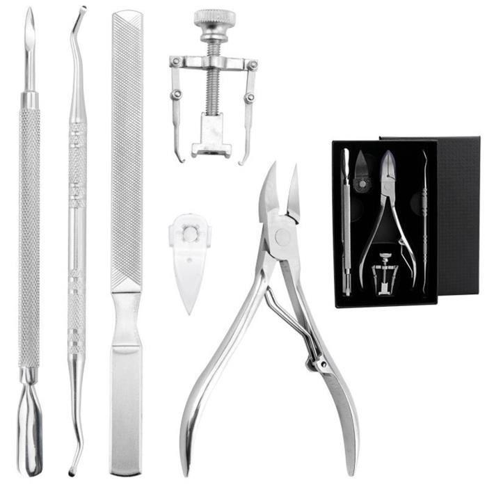 Outils D'Ongles Incarnés Coupe-ongles Kit De 6Pcs Manucure Pédicure Professionnel En Acier Inoxydable Outil