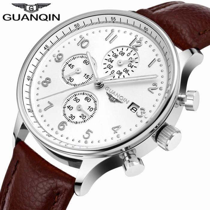 GUANQIN Montres Vintage Marque De Luxe Militaire Sport Quartz Hommes Chronographe Bracelet cuir Montre-Bracelet Brown Silver White