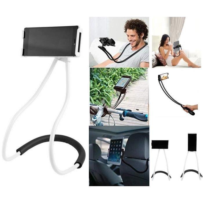 Support Smartphone pour Nuque Lazy pour WIKO Y80 (BLANC)