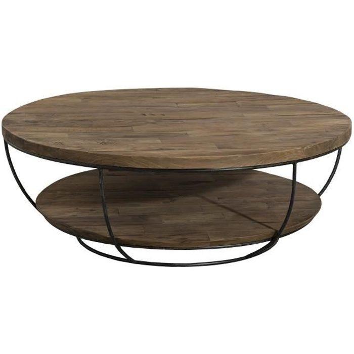 Table basse ronde double plateau style industriel en bois teck + pieds en métal et coque noire - Ø 100 cm