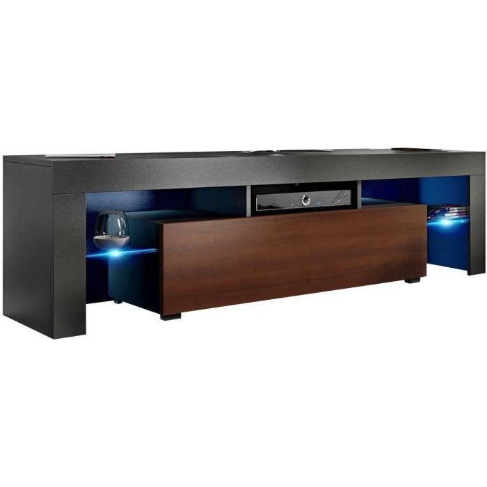 Meuble tv 160 cm noir mat / aspect noyer + led rgb