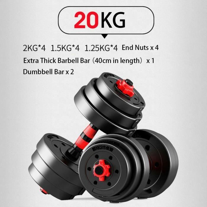 haltère réglable 1 paire 20KG (barre d'haltère caoutchoutée rouge et noire)