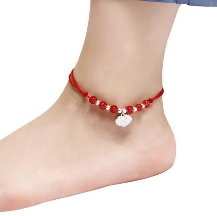 Bracelet de cheville fil rouge couleur argent perles Bracelet de pied chaîne chaîne Halhal chevillère sur la j JL12374