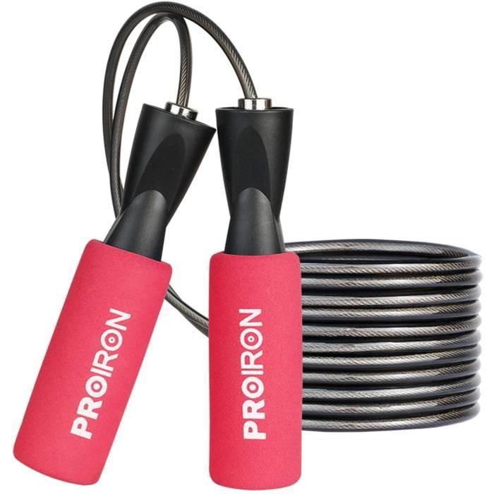 PROIRON Corde a Sauter, Skipping Rope Roulements à Billes en Acier Ergonomique, 2.8M Speed Rope Réglable, Corde à Sauter Adulte, Jum