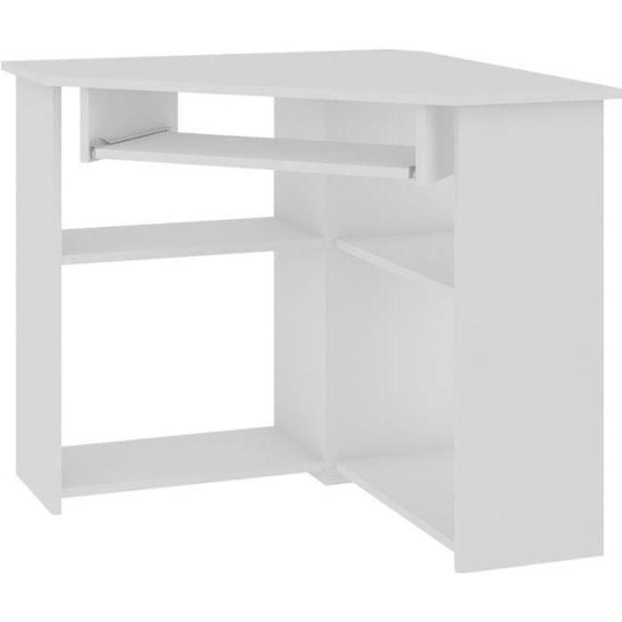 SEVAN - Bureau informatique d'angle contemporaine 80x74x80 cm - Support clavier + niche imprimante - Design multi-rangements - Blanc