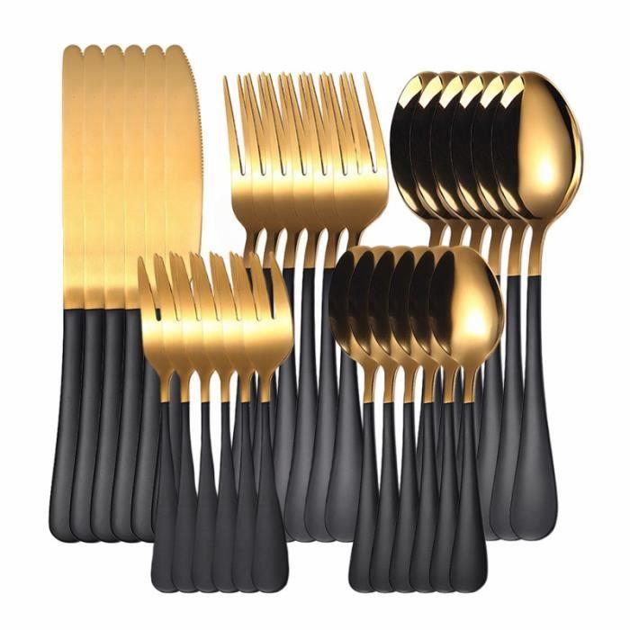 la couleur noire Ensemble de Couverts Arc-en-Ciel en Acier inoxydable, 16 pièces, Fourchette, Cuillère, Coute