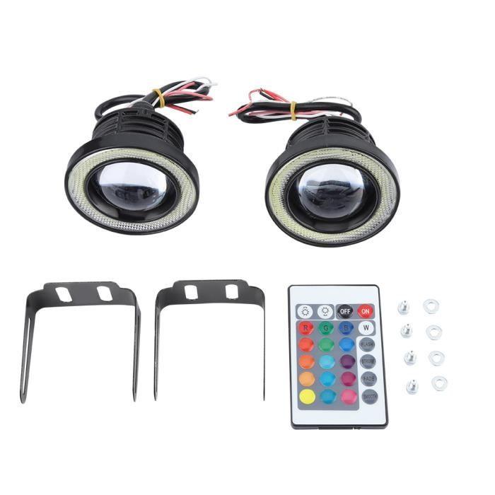Cikonielf Phare antibrouillard Voiture 30W RGB LED antibrouillard COB Angel Eye Halo Anneau Lampe Super Lumineuse avec