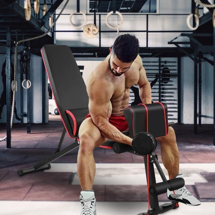 BANC DE MUSCULATION Banc de Musculation Réglable, Banc d'haltères de fitness assis à la taille Poids Plat