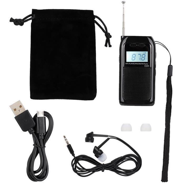 YOSOO mini radio FM MW Mini Radio FM Pocket FM MW Récepteur Radio Réglage numérique Lecteur de musique MP3 stéréo