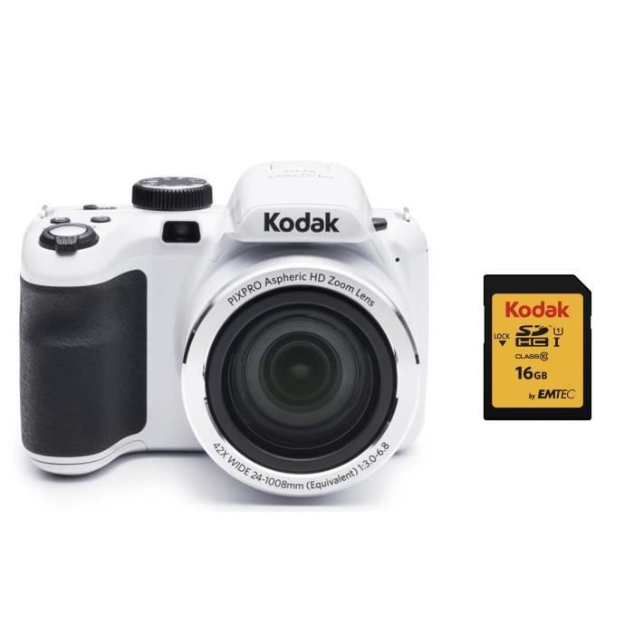KODAK AZ421 Appareil Photo Bridge - Zoom x42 - Blanc + KODAK Carte 16 Go