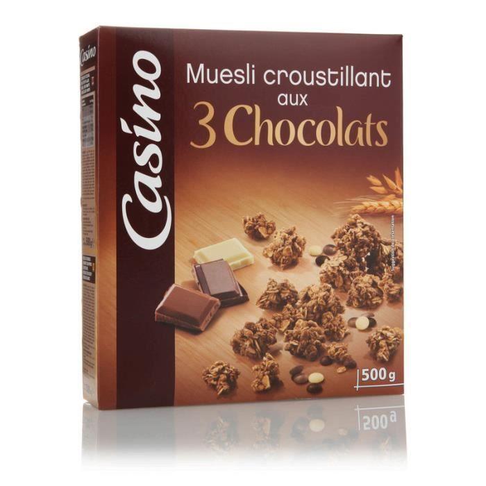 Muesli croustillant aux 3 chocolats 500 g