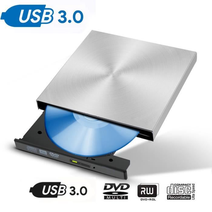 Lecteur de CD / DVD externe, CD portable 3.0, lecture 3D mince et ultra-rapide (argent)